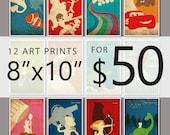 """Pixar Vintage Poster Set - 12 Art Prints for 40.00  (8""""x10"""")"""