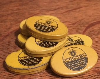 "1 pc Vintage Swartchild & Co Watchmaker Oval Tin Size Small 1-1/4"" Yellow Black"