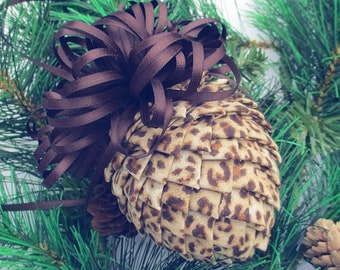 Fabric Pinecone Ornament - Animal Print with Brown Satin Bow - Christmas Ornament, Stocking Stuffer, Co-Worker Gift