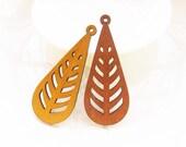 Dyeing Series - 28x 68mm Filigree Light Brown/ Coffee Tear Shape Geometrical Wood Dangle/ Wooden Charm/Pendant NM22