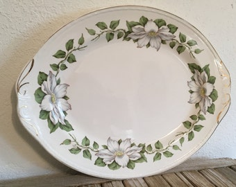 Collectible White Floral Homer Laughlin Georgian Eggshell Platter L50M5