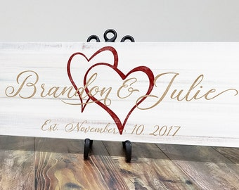 Personalized Wooden Family Established Sign, Family Name Sign, Last Name Sign, Wood Plaque, Wedding Anniversary Gift