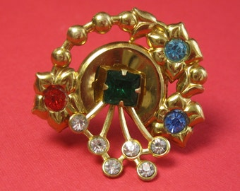 Rhinestone Brooch - Multicolor Rhinestone Brooch - Gold tone Metal