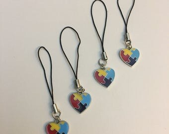 Autism Awareness Heart Phone Charm