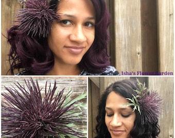 Thistle hair flower barrette, purple thistle bloom, carthamus, thistle hair flower