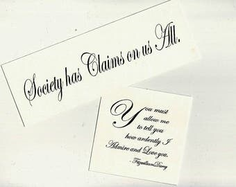 """CLEARANCE Jane Austen Fabric Patches """"You Must Allow Me to Tell You, Society Has Claims Darcy Proposal Jane Austen WHITE Cotton Fabric Block"""