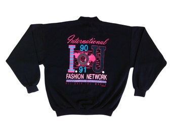 Deadstock 1990 IOU Fashion Network Vapor Aesthetic Poly/Cotton Crewneck - L / XL