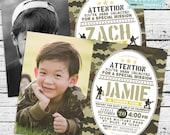 Camo Birthday Photo Invitation! A personalized military, Army, toy soldier invitation!
