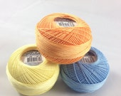 Lizbeth Tatting Thread - Size 20 - Made by Handy Hands - Spring Time Solid Three Pack - Colors 615, 696 and 703 - Your Choice of Amount