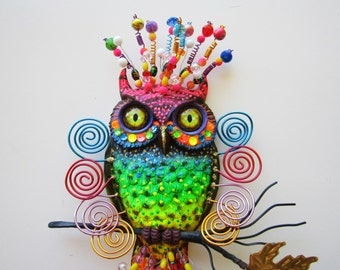 Owl art wall hanging home decor,whimsical owl sculpture, colorful owl decor