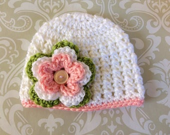Crochet baby beanie size 0 to 3 mos - an adorable baby shower gift, available now