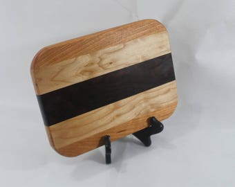 Cheese / Sushi Board Striped with Hardwoods Maple, Cherry and Walnut