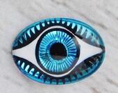 25% off Birthday SALE Bermuda Blue Evil Eye Cabochon 18x13mm Protection Oval