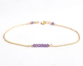 14K Gold. Tiny Amethyst bracelet, Amethyst bar bracelet, February Birthstone Jewelry, Valentine Gift