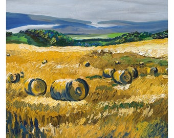 Speyside Hayfield greetings card, art card print, blank inside for your message with kraft envelope