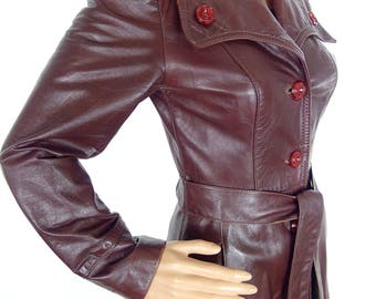 Gorgeous 70s Chocolate Leather Maxi Coat Dress With Bakelite Buttons In Size XXS-XS