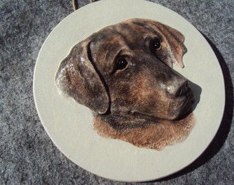 Dog Stone Wall Hanging, ooak painting,  Hand Cast, Hand Painted, Ready To Hang, Shipping Included