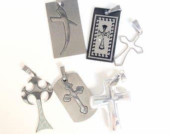6pc crosses crucifix pendants stainless steel laser cut pendants destash lot