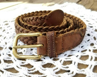 1970s Vintage Hand Braided Leather Belt with Brass Buckle