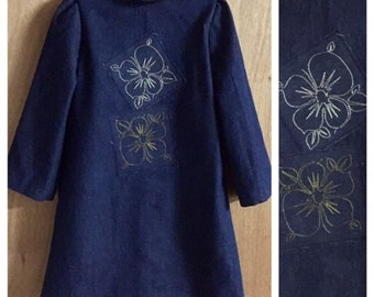 Boho/Hippie/Retro Style Denim Dress, child size 6