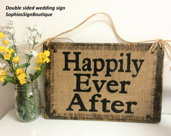 Happily Ever After one side, Here Comes The Bride second side, Double sided wedding sign, rustic, SophiasSignBoutique, two signs in one