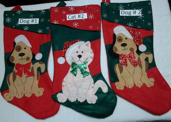 Personalized pet cat dog christmas stocking by tralyndesigns for Personalized dog christmas stocking