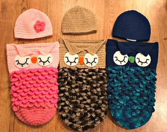 Crochet Sleeping Owl Cocoon and Hat Set, Newborn Photo Set, 3 Month, Gender Neutral, Made To Order, Baby Shower Gift, You Choose Color