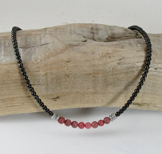 s magnetic magnetite jewelry necklace rhodonite