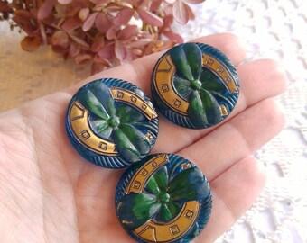 Vintage Czech glass buttons - clover shamrock golden horse shoe large horseshoe lucky good luck theme blue teal supply Czechoslovakia