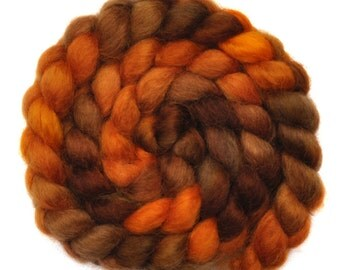 Hand painted spinning fiber - Wensleydale wool combed top roving - 4.1 ounces - Rampaging Horses 2