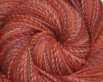 Handspun yarn - Silk / Merino wool, DK weight - 270 yards - Salmon's Voyage