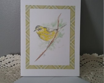 Greeting Card Watercolor Bird Yellow  FoldedBlank Card with envelope  Birthday
