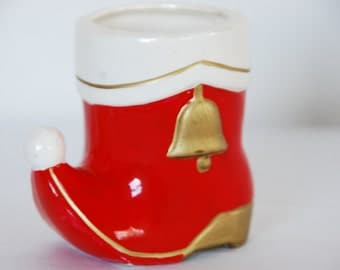 vintage little santa boot colonial candle japan ceramic