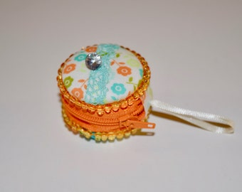Small, Beaded, Orange, Floral MACAROON to store jewelry, coins, pills...