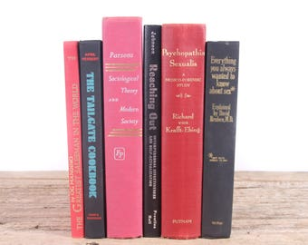 Black & Red Books / Old Books Vintage Books / Decorative Books / Antique Books Vintage Mixed Book Set / Books by Color Books for Decor