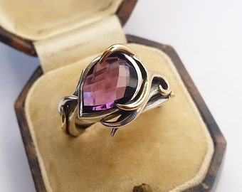 Stunning Amethyst RING. SIZE N. 9ct gold & silver. Peacock Collection. Designer Jewellery