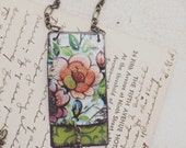"Tin Jewlery Necklace ""Flip Floral"" Tin for the Ten Year Tenth Wedding Anniversary"
