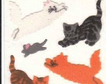 ON SALE Vintage Sandylion Fuzzy Cats Sticker Mod - Kitten Mouse