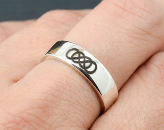 Double infinity ring, infinity ring for men, sterling silver ring, men ring, promise ring, engraving ring, Bridesmaid Gift, Bridal Jewelry