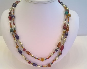 "Colorful Necklace in Fall Colors - Multi Color 48"" Long Autumn Winter Vintage Necklace"