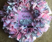 Rag Wreath, Fabric Wreath, Pink and Gray Nursery, Hospital Door Hanger, Birth Info Wreath, Pink and Gray Decor, Baby Wreath, Baby Shower