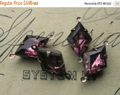 SALE 15x10mm Amethyst Purple Diamond Shape Rhinestones in Oxidized Brass Settings 2-Loop Connectors (4)