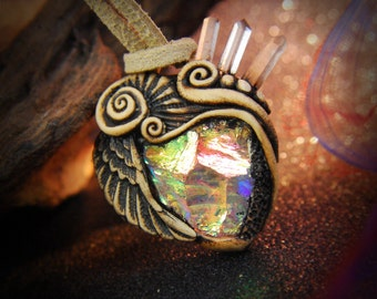 Angel Aura hammered quartz clay pendant