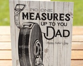 Father's Day Card: Handyman Dad Garage Tools Tape Measure | A7 5x7 Folded - Blank Inside - Wholesale Available