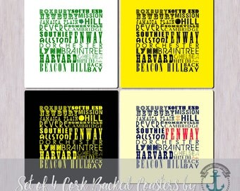 Coaster Set | Boston Sport Typography | Set of 4 Cork Back | Options at Checkout