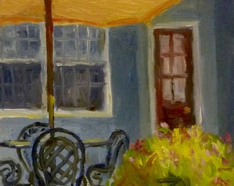 Porchside Afternoon Small Landscape Oil Painting on Canvas
