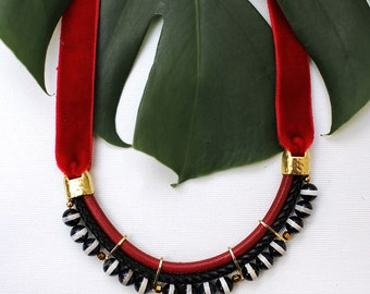 B|R - Black and Red Statement Onyx Stone Necklace by Pardes