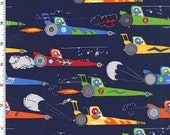 Rat Race Redux on Navy in Michael Miller's Traffic Jam Collection - Choose Your Cut