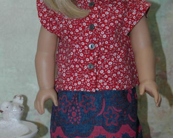 American, made, girl, doll, clothes, fit, 18 inch doll, blouse, shirt, denim, skirt