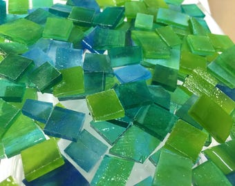 50 ODD BLUE & GREEN Stipple Stained Glass Mosaic Tiles B-31